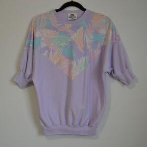 Vintage 80s Dolman Top Floral Purple Elbow Sleeve